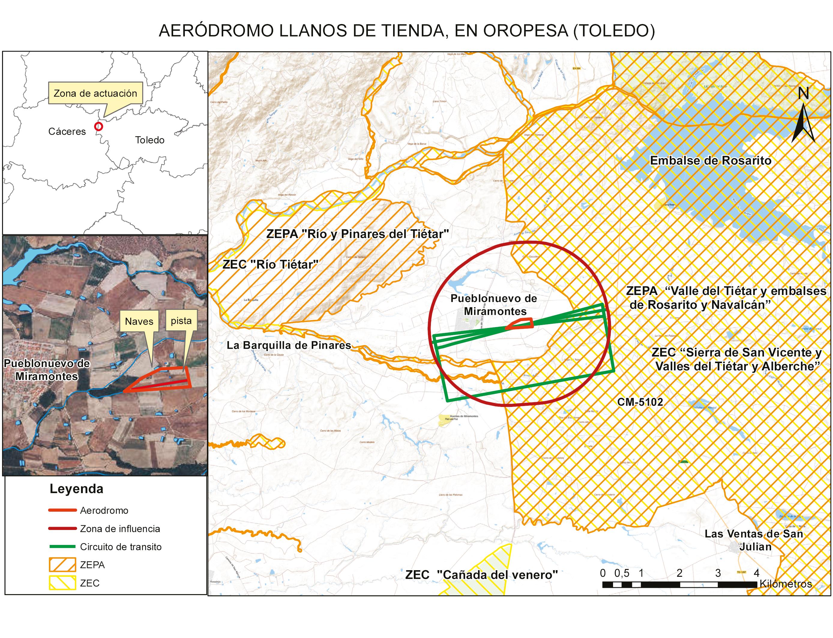 Aeródromo Llanos de Tienda, en Oropesa (Toledo).Pueblonuevo de Miramontes