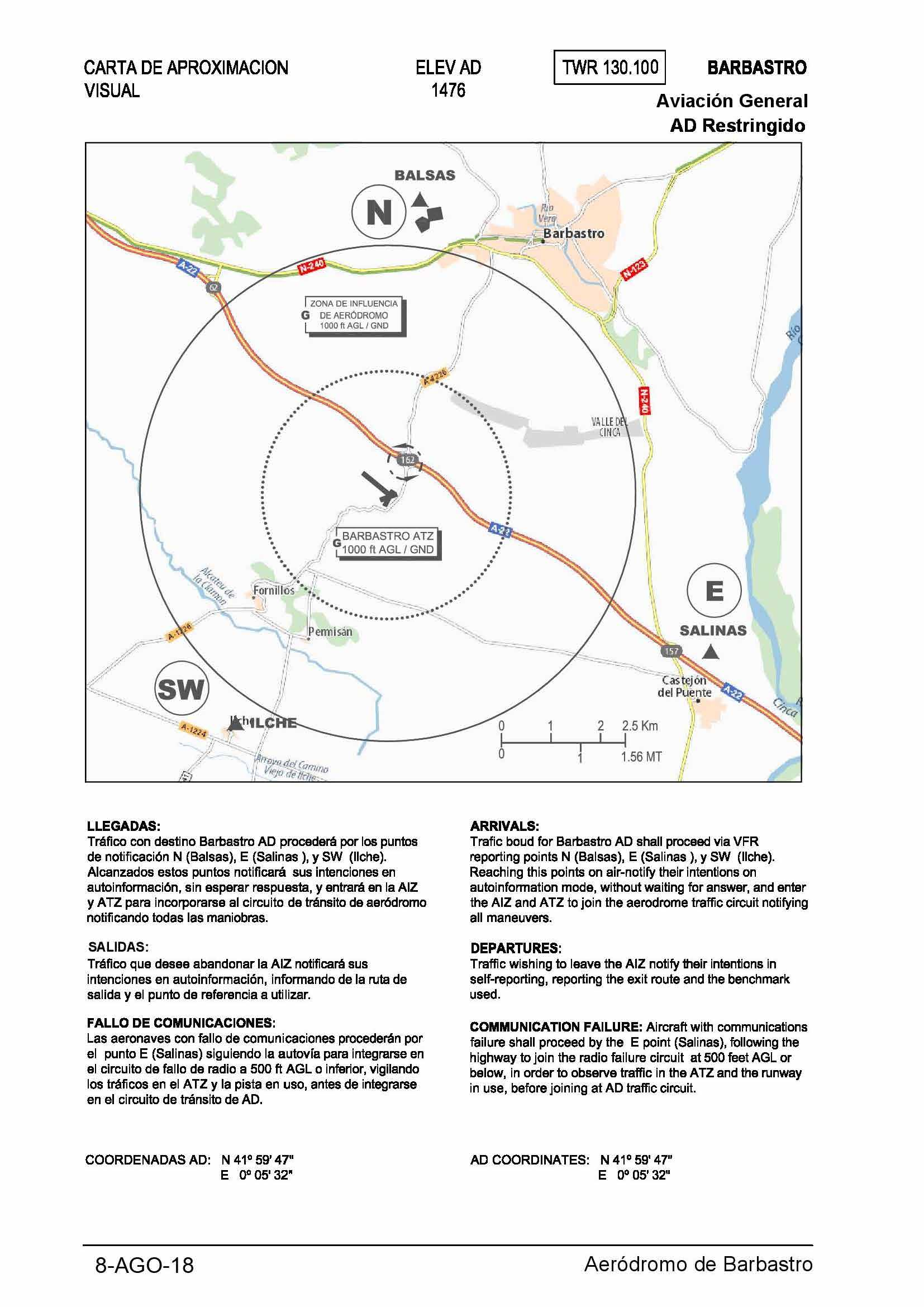 Carta de aproximación visual aeródromo de Barbastro