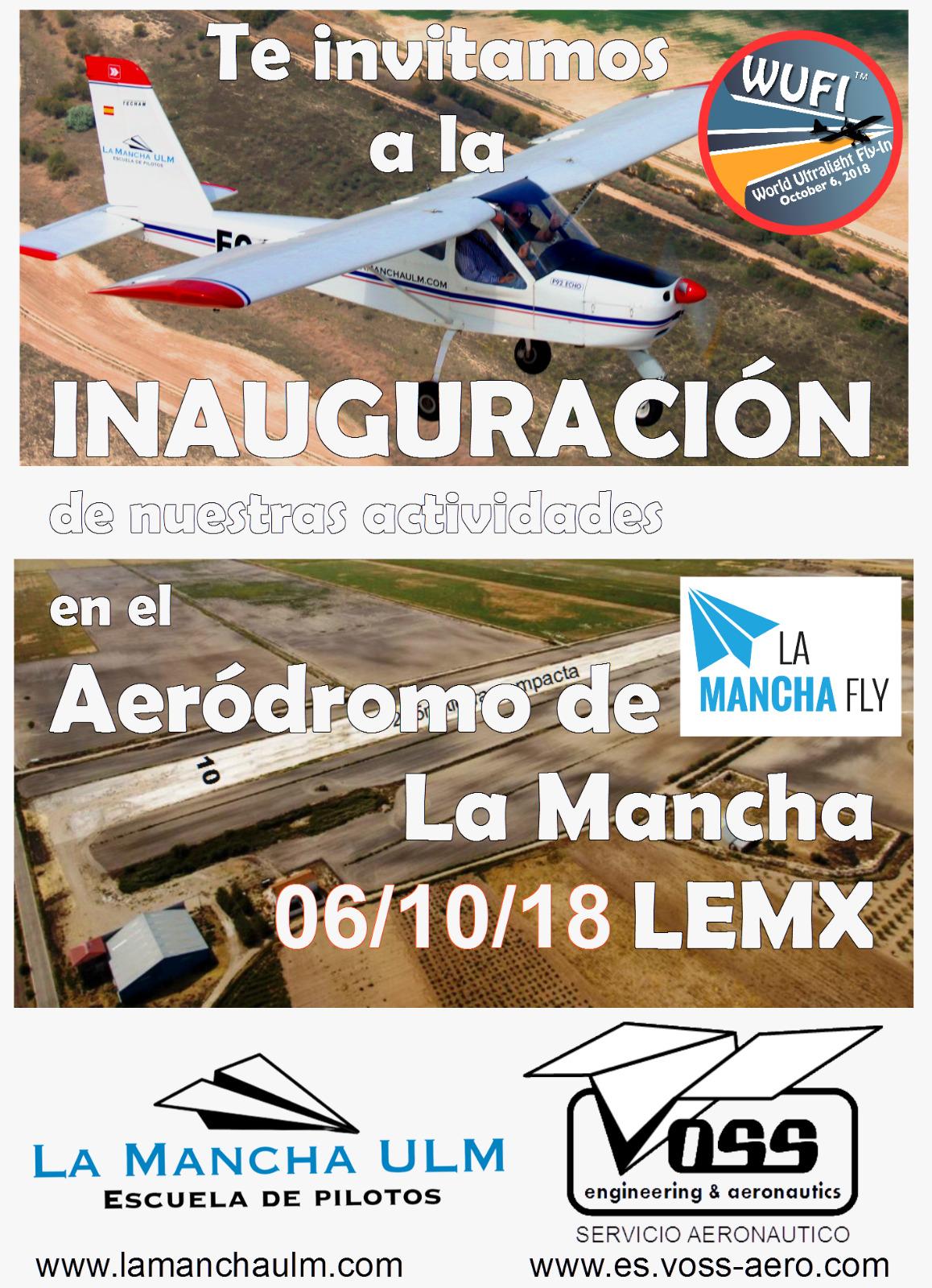 Inauguración del taller y la escuela de vuelo del Aeródromo de la Mancha LEMX