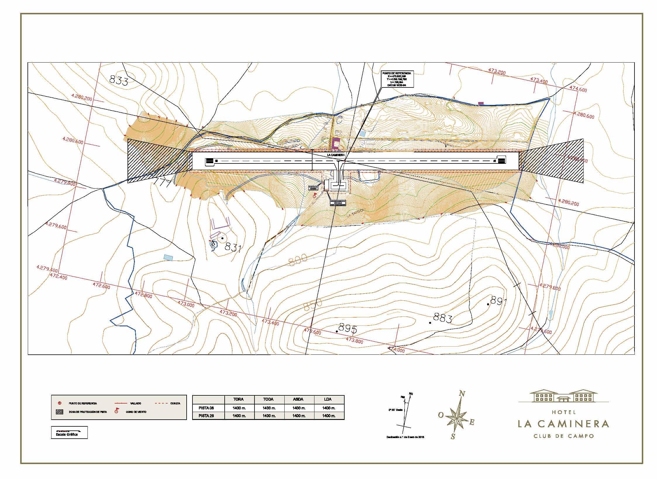 Aeródromo La Caminera carta de aproximación visual VFR