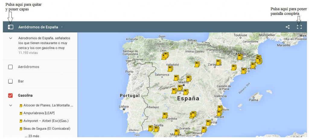 Mapa aeródromos de España - aterriza.org